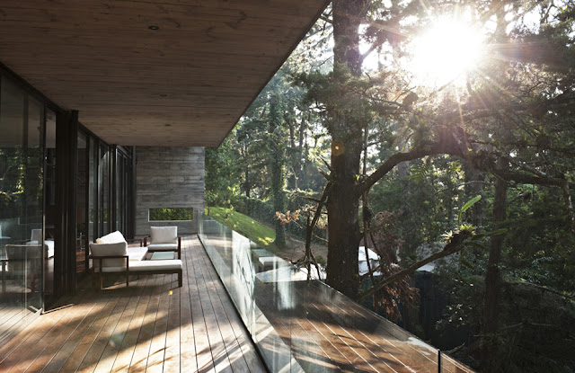 Picture of large balcony by the trees