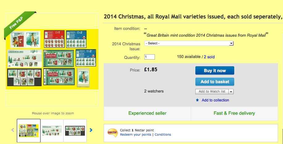 http://www.ebay.co.uk/itm/2014-Christmas-all-Royal-Mail-varieties-issued-each-sold-seperately-Mint-/171490727458?pt=UK_Stamps_BritishStamps&var=&hash=item27eda4d622