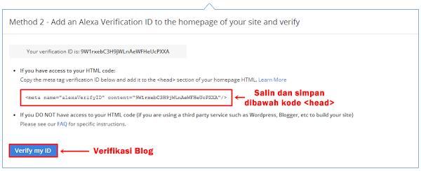 Cara Terbaru Daftar dan Verifikasi Blog di Alexa Rank