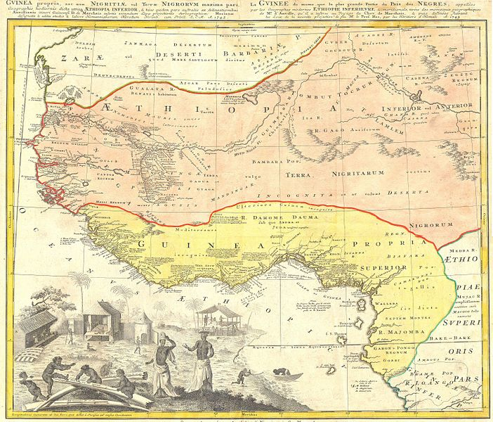 guinea propria nec non nigritiae vel terrae nigorumaethiopia inferior1743 homann heirs one of the finest maps of west africa to appear in the mid 17th