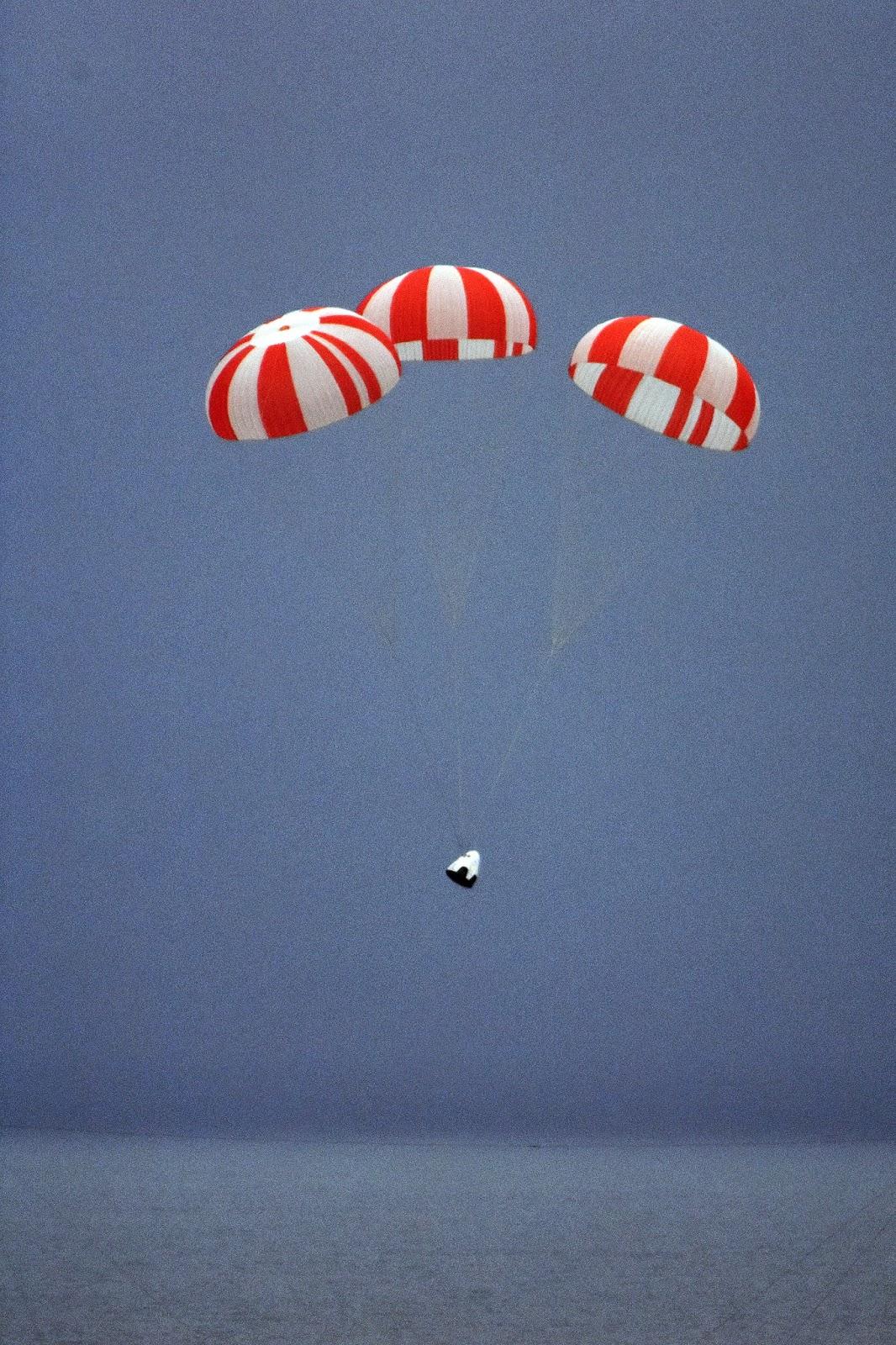 SpaceX's Crew Dragon spacecraft deploys parachutes before splashdown. Credit: SpaceX