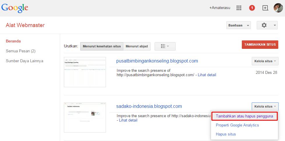 Cara mendaftarkan blog/ website di Google Webmaster 2