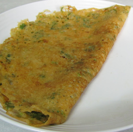 This is a one pot meal dosa as it doesnt need any side dish Onion Thotakura Dosa (Amaranth Dosa)