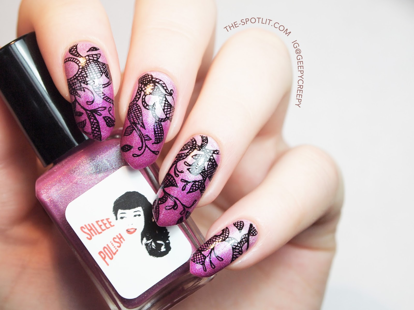 Black and pink lace-inspired hand-drawn nail art using Shleee Polish Hey, Lolita, Hey and Miss Magenta.