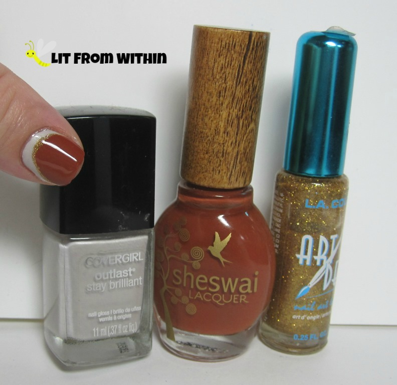 Bottle shot:  Cover Girl Silver Lining, Sheswai Rootsy, and a gold glitter nail art striper.