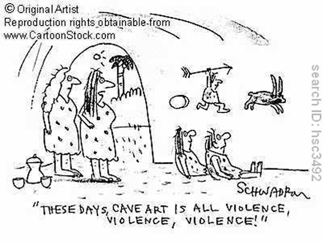 These days, cave art is all violence, violence, violence