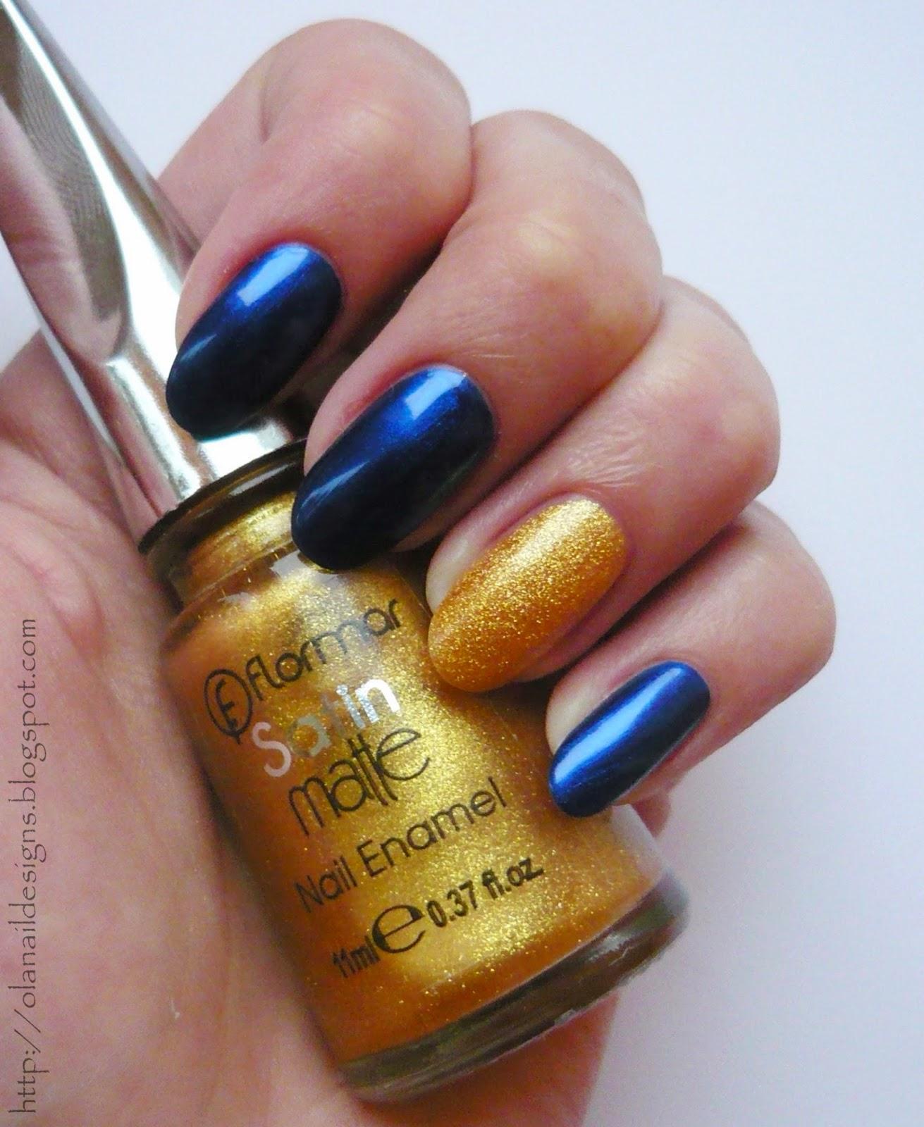 złoto granatowe paznokcie