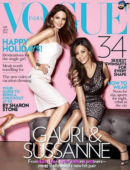 Suzzane Khan, Gauri Khan Vogue Cover Scan - (11) - Bollywood Magazines April 2012 Cover Scans
