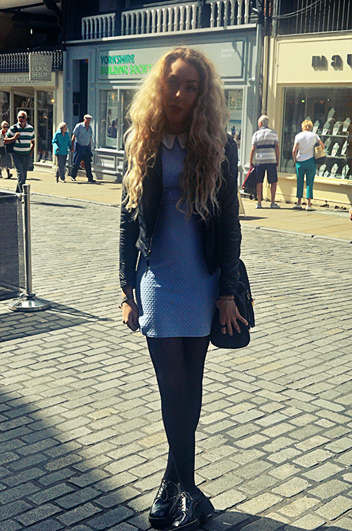 stephi lareine, primark dress, topshop leather jacket, asos brogues, uk fashion blogger