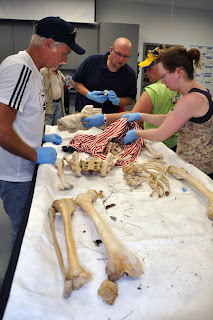 Participants examine a body in the lab.