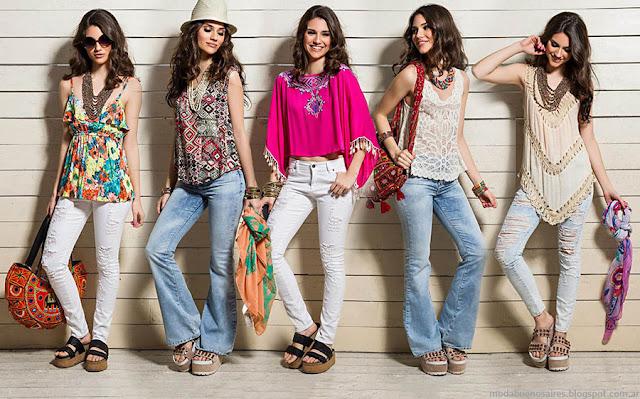 Blusas, tops, túnicas, pantalones oxford y chupines moda primavera verano 2016 Sophya. Moda primavera verano 2016.