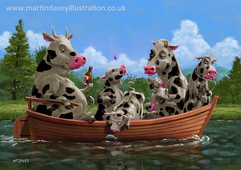 Cartoon Cow Family on Boating Holiday-digital painting