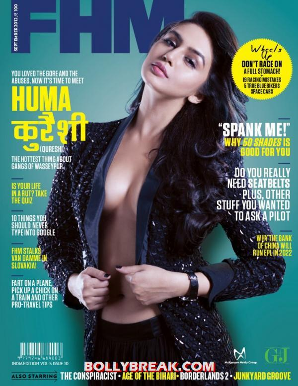 Huma Quereshi inablack leather jacket looking stunningly hot - Huma Quereshi on cover of FHM