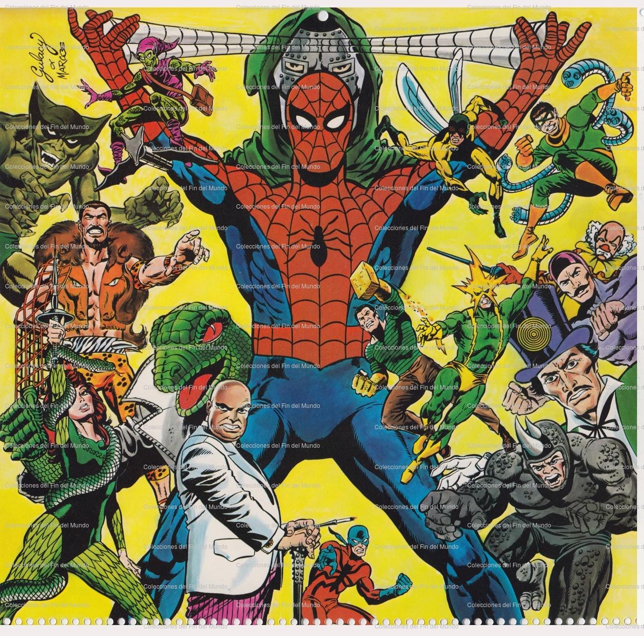 Venta de láminas de los calendarios Marvel 1980