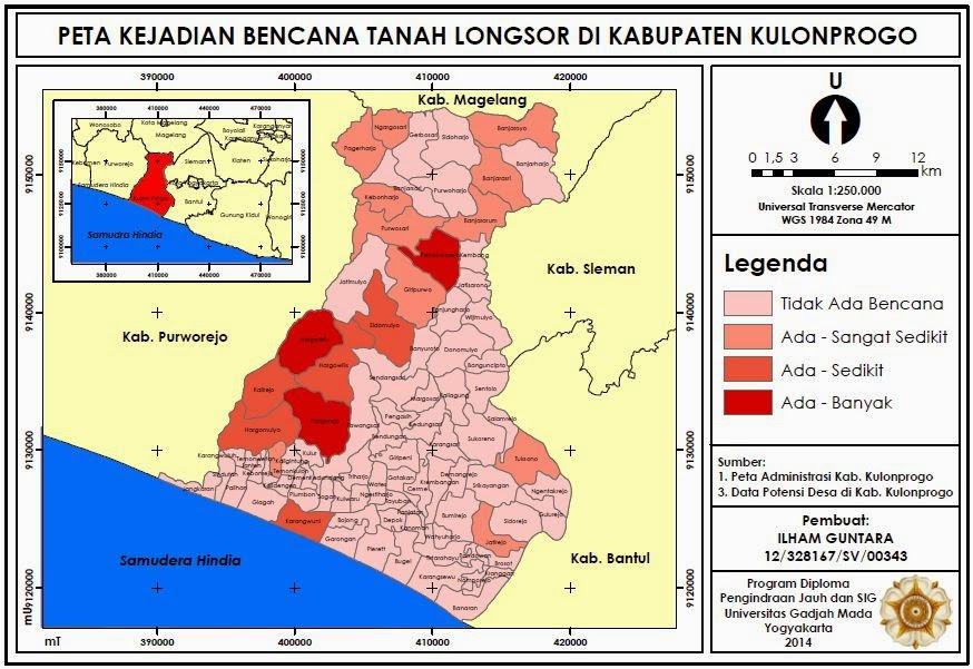 Contoh Peta Kejadian Bencana Tanah Longsor di Kabupaten Kulonprogo www.guntara.com