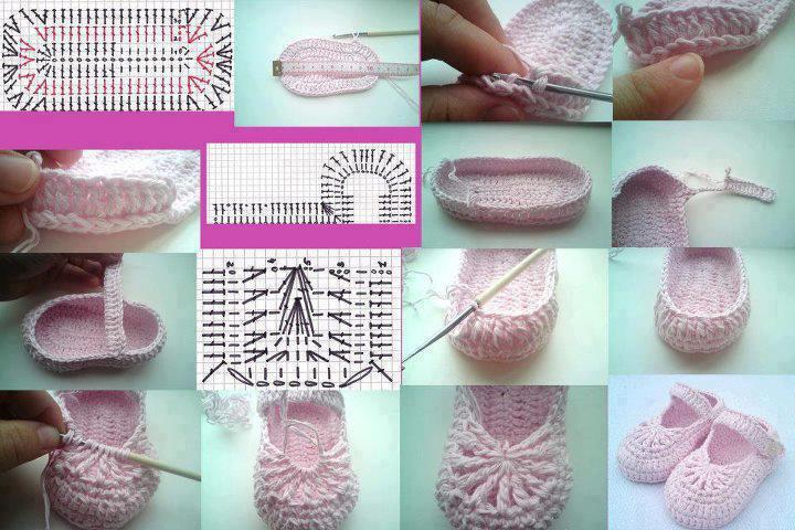 Cómo tejer zapatitos de bebe al crochet paso a paso en fotos y explicación