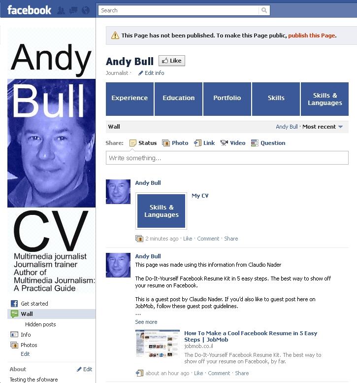 Facebook resume