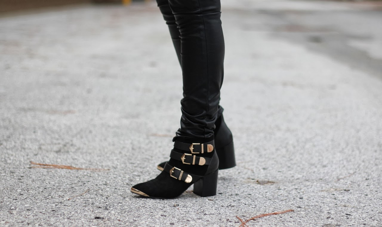 Report signature gold black buckle bootie suede fairfield ankle boot