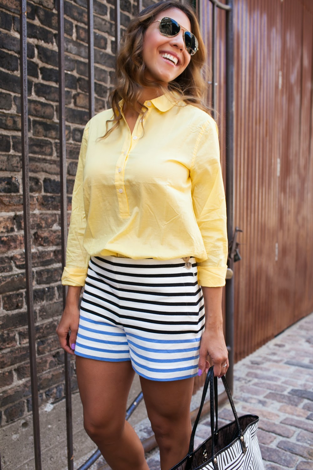 loft striped shorts