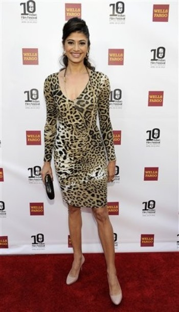 Pooja Batra in Lion skin Gown Dress -  Pooja Batra at 10th Annual Indian Film Festival of Los Angeles