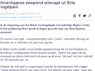 Bericht van nu.nl over de zeearend