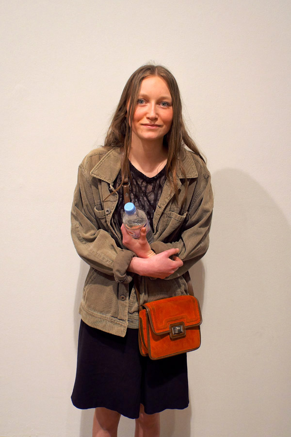 Corduroy jean jacket, black skirt orange bag - Henson exhibition 2012