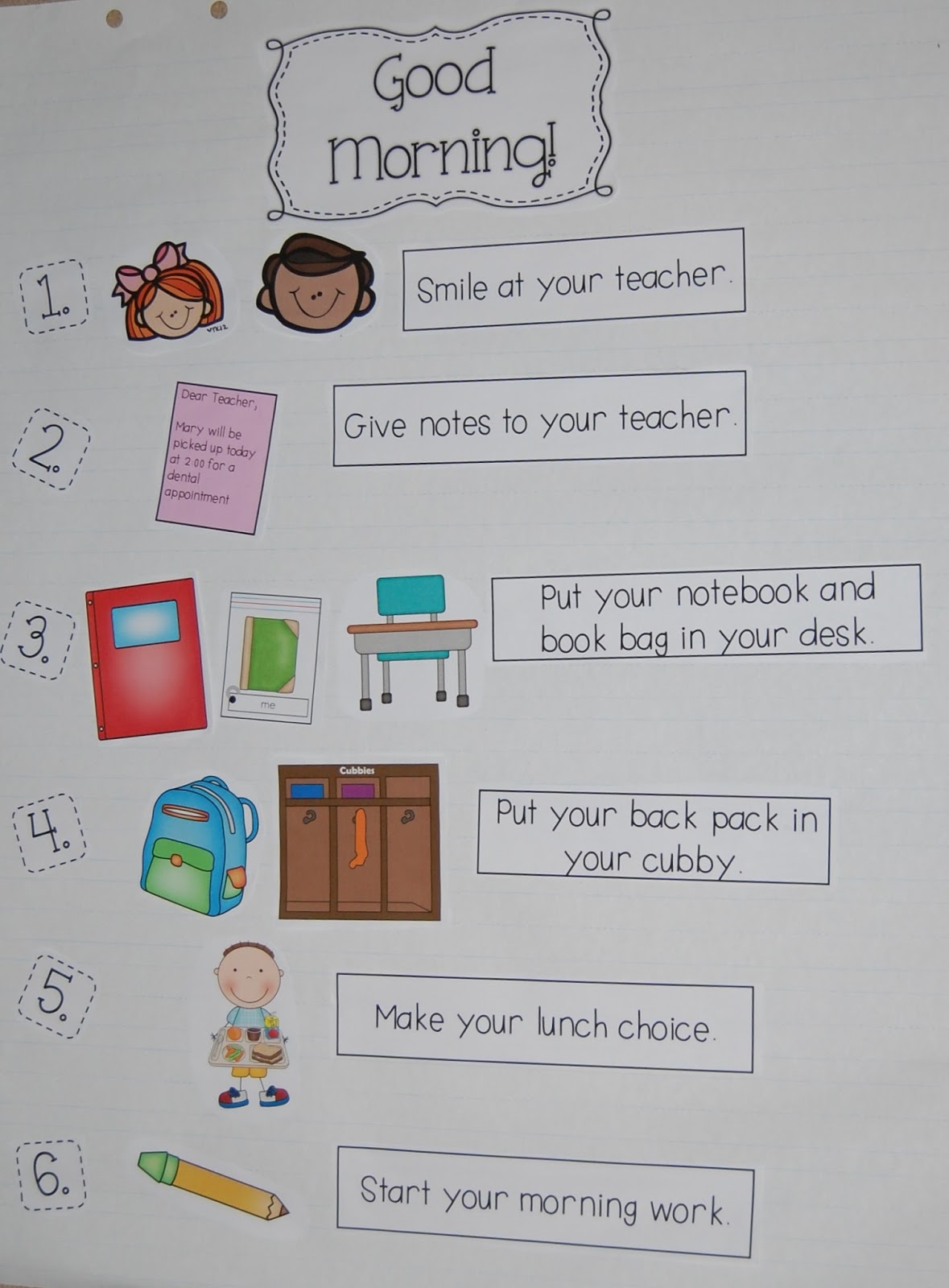 Anchor charts anchor chart for morning routines ccuart Choice Image