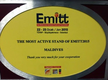"Maldives awarded ""The most active stand of EMITT 2015"""