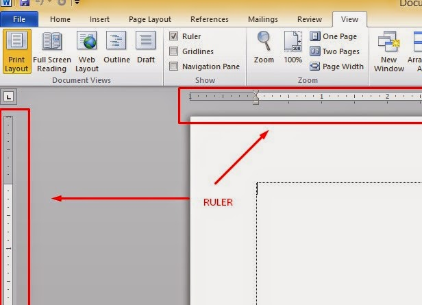 how to add ruler in word