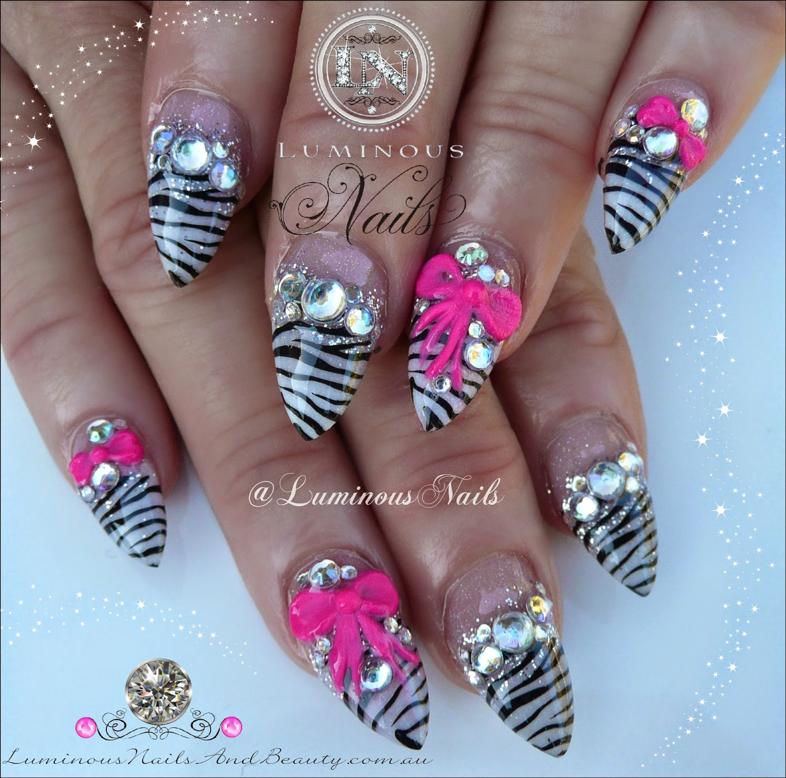 Zebra Print Nails With Pink