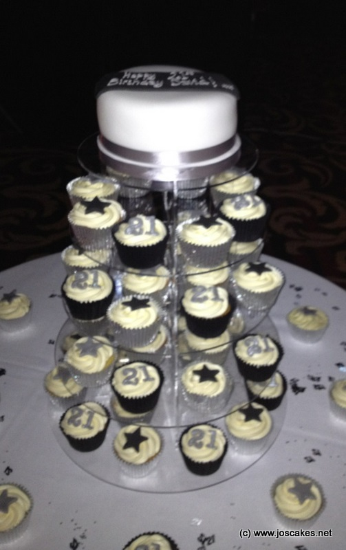 Jos Cakes Black and Silver 21st Birthday Cupcakes