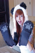 Adorable Ivy Snow masturbates in her panda suit