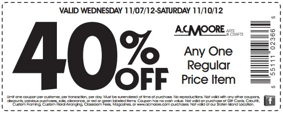 acmoore coupons 40 off november 2012