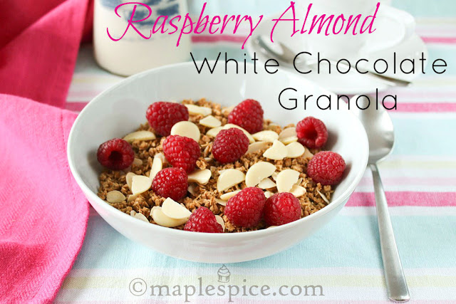 Vegan Raspberry Almond White Chocolate Granola