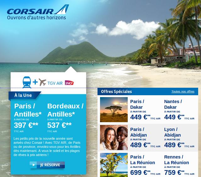 Bons plans voyages Antilles, Réunion, Montrél, Dakar, Abidjan.