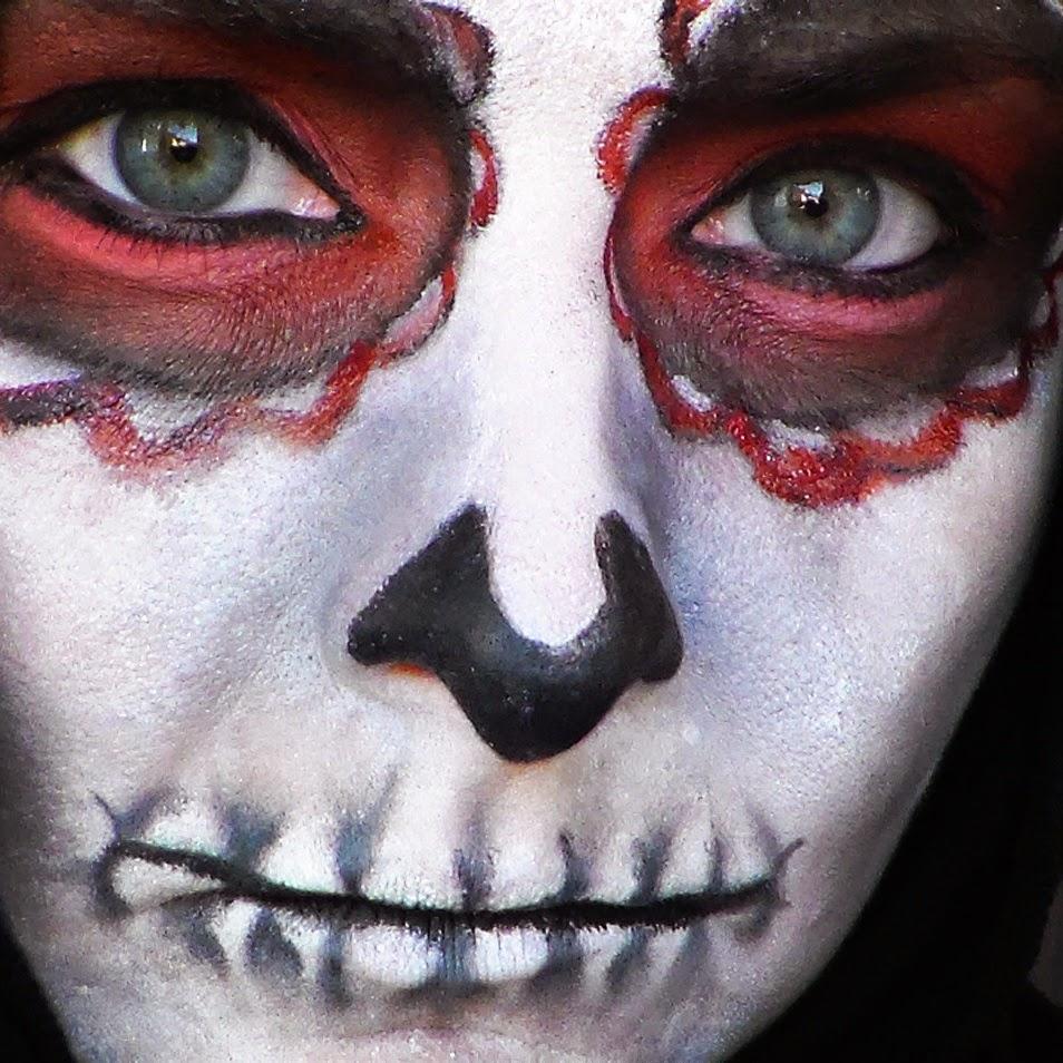 rojo, negro, calavera, maquillaje halloween, caracterización