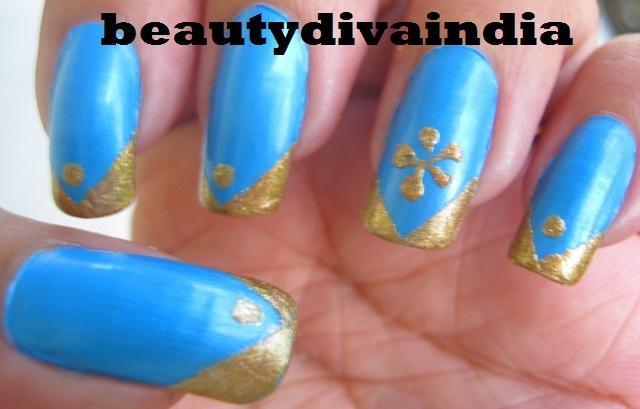 Blue golden nail art : Blue gold nail art tape manicure beautydiva india