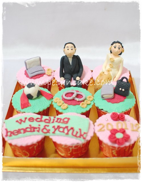 Cupcake Set Tema Wedding Cucpake Coklat Pcs Decor Nya Tentukan