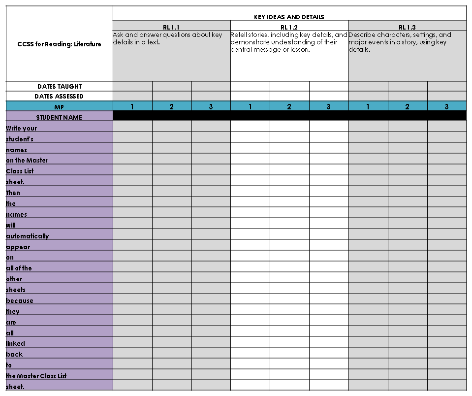 Cook s classroom blog common core ela checklist for 1st grade