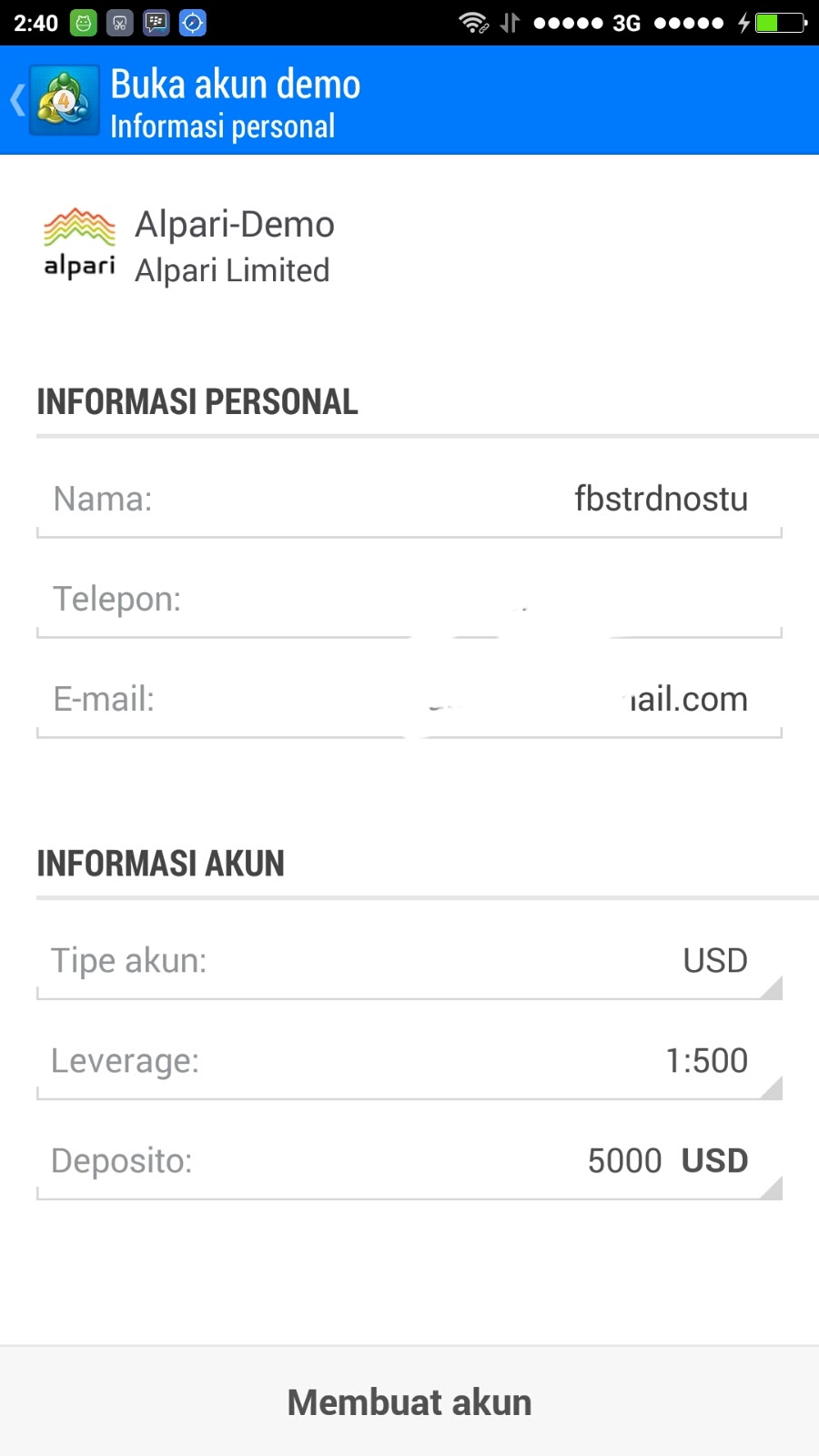 Demo forex di android