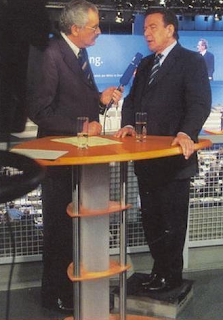 funny picture interview with Gerhard Schröder