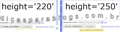 codigos dos comentarios do blog