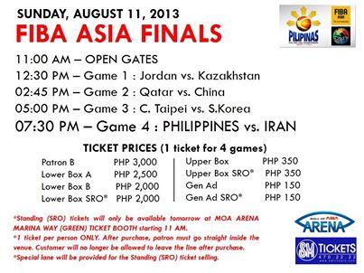 Philippines vs. Iran FIBA Asia 2013 Championship schedule