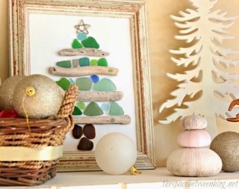 framed seaglass driftwood Christmas tree