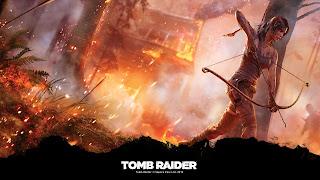 Tapeta z gry Tomb Raider 1920x1080: Lara Croft z łukiem na tle pożaru