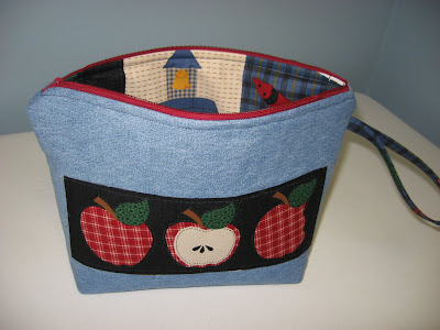 Upcycled Denim Zippered Accessory Bag