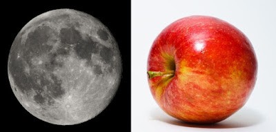 Moon and apple -- that Newton would compare