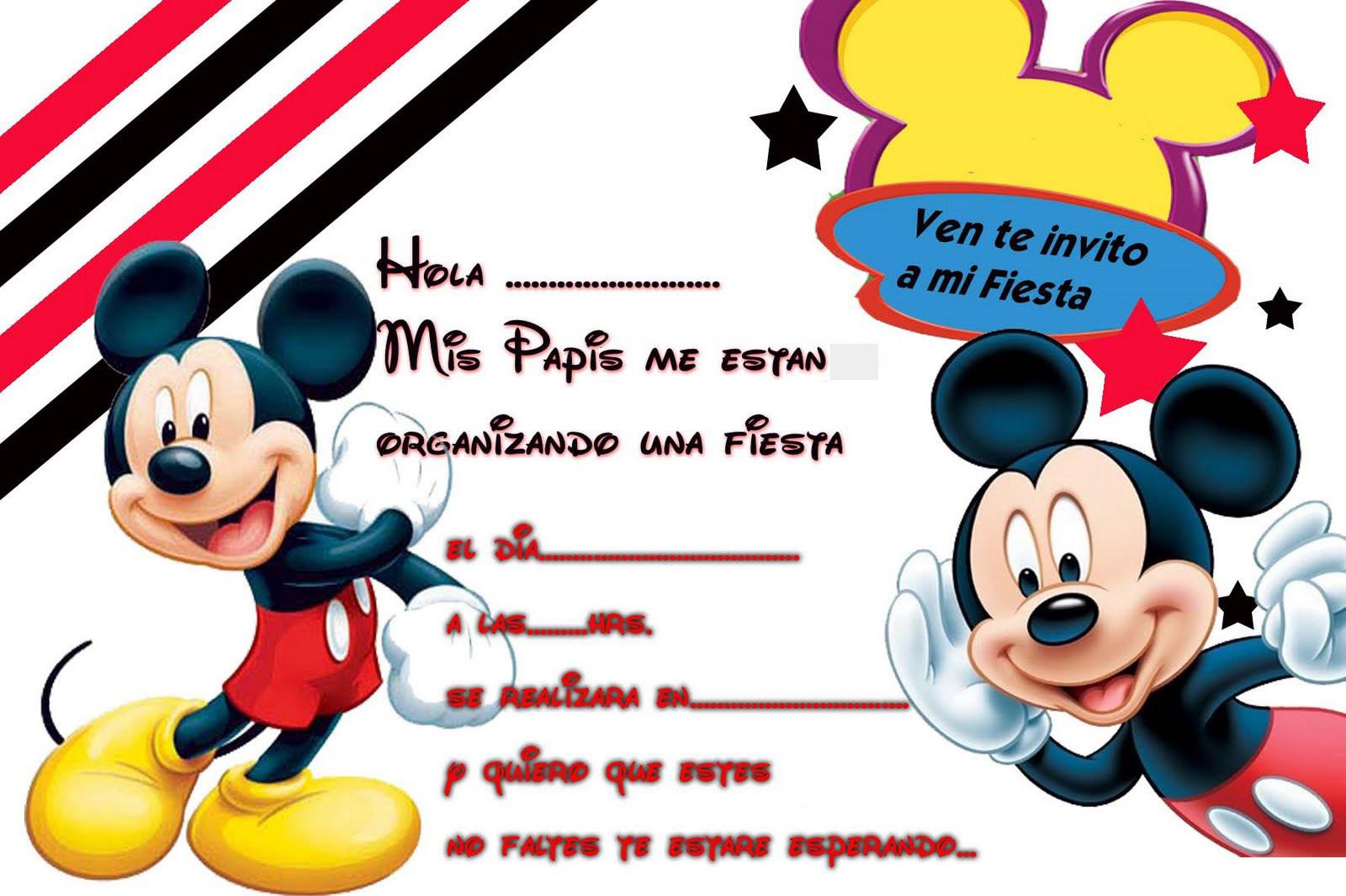 Invitaciones Para Cumple Anos De Mickey Mouse