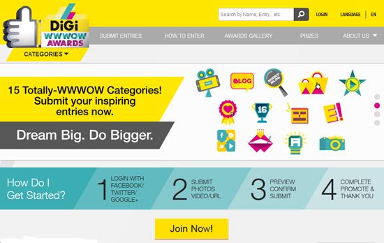 digi wwwow internet for all awards 2013 - panduan blogger blogspot