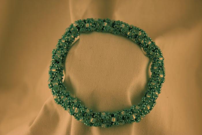 Aqua Cross Weave Seed Bead Bracelet